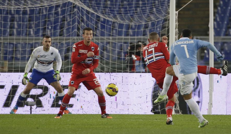 Lazio's Felipe Anderson, right, scores during a Serie A soccer match between Lazio and Sampdoria at Rome's Olympic Stadium, Monday, Jan. 5, 2015. (AP Photo/Andrew Medichini)