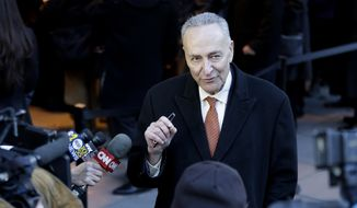 U.S. Sen. Chuck Schumer talks to reporters outside the wake for Mario Cuomo in New York, Monday, Jan. 5, 2015. Cuomo, 82, died in his Manhattan home on Thursday, Jan. 1 just hours after his son was inaugurated for a second term. (AP Photo/Seth Wenig)