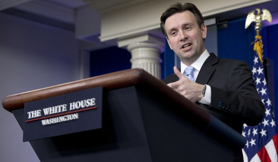 White House press secretary Josh Earnest speaks during the daily news briefing at the White House in Washington, Monday, Jan. 5, 2015. Earnest discussed House Majority Whip Steve Scalise of La., who admitted to speaking to a white supremacist group in 2002, the Sony cyberattack, and other topics. (AP Photo/Carolyn Kaster)