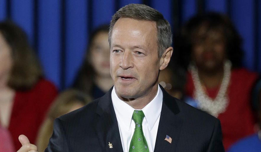 Maryland Gov. Martin O'Malley speaks at the University of Maryland in College Park, Md., in this Oct. 30, 2014, file photo. (AP Photo/Patrick Semansky)