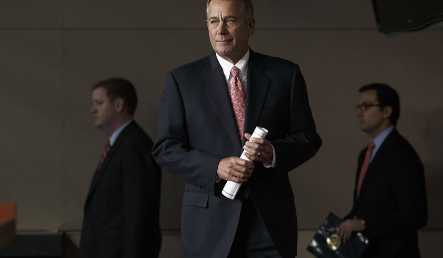 FILE - In this Dec. 11, 2014 file photo, House Speaker John Boehner of Ohio arrives for a news conference on Capitol Hill in Washington. The new Congress convenes Tuesday with Republicans in control of the House and the Senate as a formidable counterpoint to President Barack Obama in his final two years in office. Obama has the power to veto legislation, an action he's only taken twice in six years. Expect plenty more in the next 24 months in showdowns between the Democratic president and the GOP-led Congress.   (AP Photo/J. Scott Applewhite, File)