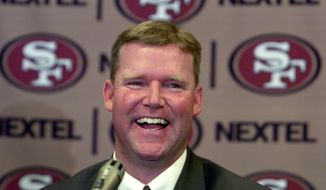 New San Francisco 49ers vice president of player personnel Scot McCloughan smiles during a news conference in Burlingame, Calif., Wednesday, Feb. 2, 2005. He replaces 49ers general manager Terry Donahue, who was fired last month. McCloughan was the Seattle Seahawks' director of college scouting. (AP Photo/Paul Sakuma)