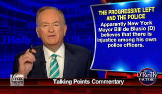 "Fox News host Bill O'Reilly warned Monday night of a ""mini-crisis brewing in New York City,"" again calling on Mayor Bill de Blasio to step down for allegedly stoking racial fears and outrage at local police. (Fox News)"