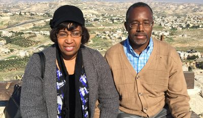 Dr. Ben Carson and wife Candy, on their recent trip to Israel, visit Herodion, the site of a palace-fortress south of Jerusalem built by King Herod between 23 and 15 B.C.