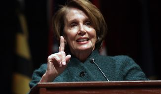 House Minority Leader Nancy Pelosi of Calif. speaks at the Congressional Black Caucus ceremonial swearing-in ceremony, Tuesday, Jan. 6, 2015 on Capitol Hill in Washington. (AP Photo/Lauren Victoria Burke) ** FILE **
