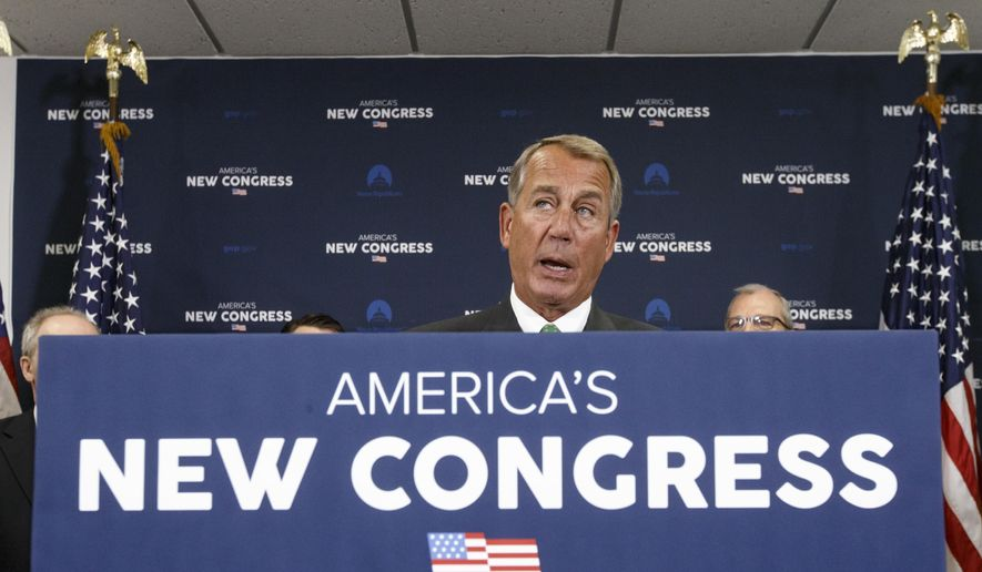 """House Speaker John Boehner of Ohio speaks to reporters following a House GOP caucus meeting on Capitol Hill in Washington, Wednesday, Jan. 7, 2015. Boehner said his had a """"family conversation"""" about how to respond to the 25 conservatives who revolted and voted against him on the floor for his re-election as speaker on Tuesday. Two GOP conservatives were kicked off the Rules Committee earlier, Rep. Daniel Webster, R-Fla., who challenged Boehner for speaker, and Rep. Rich Nugent, R-Fla., who voted for Webster. (AP Photo/J. Scott Applewhite)"""
