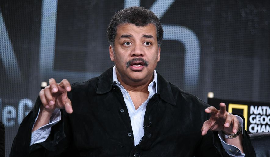 Neil deGrasse Tyson speaks on stage at the National Geographic Channel 2015 Winter TCA on Wednesday, Jan. 7, 2015, in Pasadena, Calif. (Photo by Richard Shotwell/Invision/AP) ** FILE **