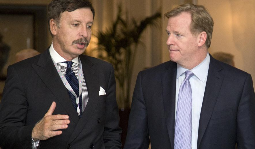 FILE - In this Oct. 8, 2013, file photo, Stan Kroenke, owner of the St. Louis Rams football team, left, talks with NFL Commissioner Roger Goodell during a break in the NFL fall meeting in Washington. A newspaper reports the owner of the Rams plans to build an NFL stadium in Los Angeles County, boosting the chances that pro football could return to the region. The Los Angeles Times says Kroenke has partnered with Stockbridge Capital Group, owners of the 238-acre Hollywood Park site in Inglewood. (AP Photo/Carolyn Kaster, File)