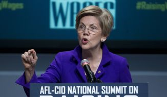 Sen. Elizabeth Warren, D-Mass. speaks about raising wages during the forum AFL-CIO National Summit, Wednesday, Jan. 7, 2015, at Gallaudet University in Washington. (AP Photo/Jose Luis Magana)