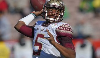 In this Jan. 1, 2015 file photo, Florida State quarterback Jameis Winston passes against Oregon during the first half of the Rose Bowl NCAA college football playoff semifinal, in Pasadena, Calif. Winston declared himself eligible for the NFL draft Wednesday, Jan. 7, 2015,  the same day the woman who accused him of rape filed a lawsuit against the university saying it failed to properly investigate her allegations.(AP Photo/Mark J. Terrill, File)
