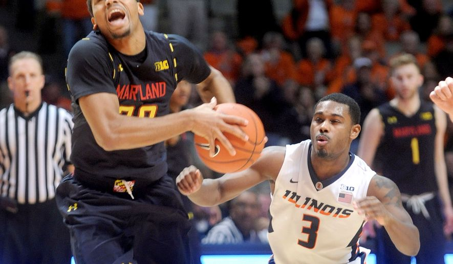 Maryland's Richaud Pack (20) makes his way to the basket with Illinois' Ahmad Starks (3) close behind during the second half of an NCAA college basketball game Wednesday, Jan. 7, 2015, in Champaign, Ill. Illinois won 64-57. (AP Photo/Heather Coit)