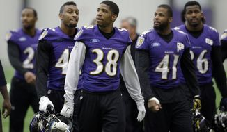 Baltimore Ravens defensive back Rashaan Melvin (38) walks off the field with teammates after an NFL football practice, Wednesday, Jan. 7, 2015, in Owings Mills, Md. The Ravens will travel to New England for a divisional playoff game against the Patriots Jan. 10. (AP Photo/Patrick Semansky)