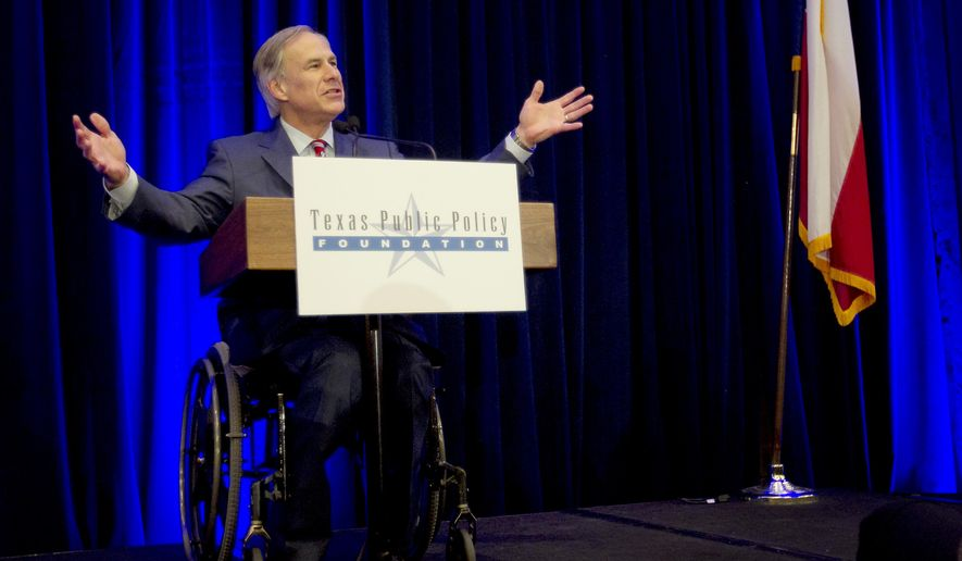 Governor-elect Greg Abbott addresses influential conservatives at the Texas Public Policy Foundation's legislative orientation at the Sheraton Austin Hotel in Austin, Texas, on Thursday, Jan. 8, 2015. Abbott was far less confrontational while listing his legislative priorities, sticking to campaign vows such as building roads and reducing business regulations. It was in stark contrast to incoming Lt. Gov. Dan Patrick, who vowed Thursday to make good on even his most fiercely conservative promises.  (AP Photo/Austin American-Statesman, Laura Skelding)