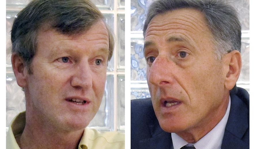 FILE - These October 2014 file photos show Vermont Republican gubernatorial candidate Scott Milne, left, and incumbent Democrat Gov. Peter Shumlin, right, during interviews in Montpelier, Vt. The new Vermont Legislature is set to carry out its constitutional duty and elect the governor because Shumlin failed to get more than 50 percent of the vote in November against Milne. A joint session of the Vermont House and Senate will comply with a provision of the Vermont Constitution that requires lawmakers to choose the governor and two other top offices when no candidate gets more than 50 percent of the vote. The election will be held Thursday, Jan. 8, 2015, during a joint session of the Vermont House and Senate. (AP Photo/Wilson Ring, File)