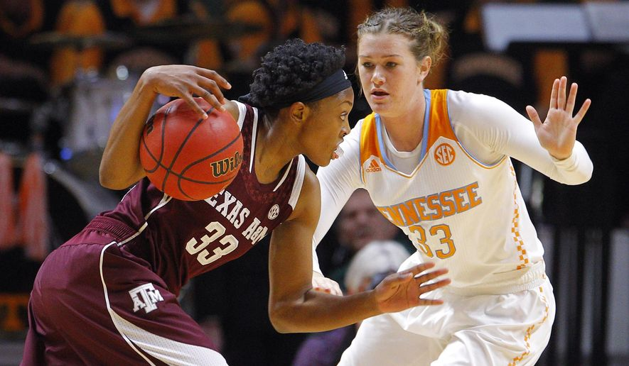 Texas A&M guard Courtney Walker (33) drives against Tennessee guard Alexa Middleton (33) in the first half of an NCAA college basketball game Thursday, Jan. 8, 2015, in Knoxville, Tenn. (AP Photo/Wade Payne)