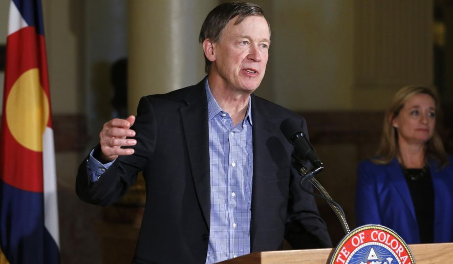 Colorado Gov. John Hickenlooper speaks to members of the media during a news conference describing a workforce initiative that his administration says will increase hiring in Colorado, at the Capitol, in Denver, Thursday Jan. 8, 2015. The $3 million program is intended to work with the Colorado Office of Economic Development and International Trade, and the Colorado Dept. of Labor and Employment to assist the state's long-term unemployed in getting back to work. (AP Photo/Brennan Linsley)