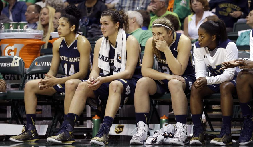 Notre Dame players watch the final minutes of the second half of an NCAA basketball game against Miami in Coral Gables, Fla., Thursday, Jan. 8, 2015. Miami won 78-63. (AP Photo/Alan Diaz)