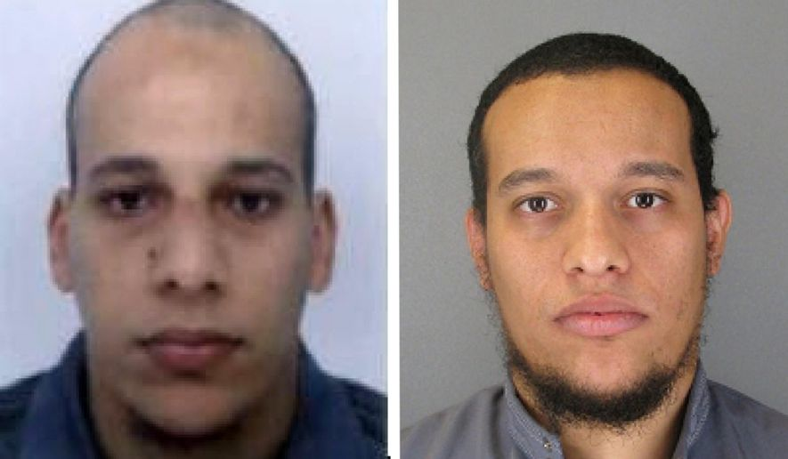 """This file photo provided by The Paris Police Prefecture Thursday, Jan.8, 2015 shows the suspects Cherif, left, and Said Kouachi in the newspaper attack along with a plea for witnesses. Police hunted Thursday for two heavily armed men, one with possible links to al-Qaida, in the methodical killing of 12 people at a satirical newspaper that caricatured the Prophet Muhammed. France began a day of national mourning for what its president called """"an act of exceptional barbarism. (AP Photo/Prefecture de Police de Paris, file) ** FILE **"""