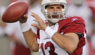 FILE - In this Aug. 13, 2005, file photo, Arizona Cardinals quarterback Kurt Warner looks for an open receiver in the first quarter against the Dallas Cowboys in Tempe, Ariz.  Warner, Junior Seau and Orlando Pace are first year eligible nominees among the 15 Modern-Era Finalists that will be considered for election to the Pro Football Hall of Fame when the Hall's Selection Committee meets in Phoenix on Saturday, Jan. 31, 2015. (AP Photo/Paul Connors, File)