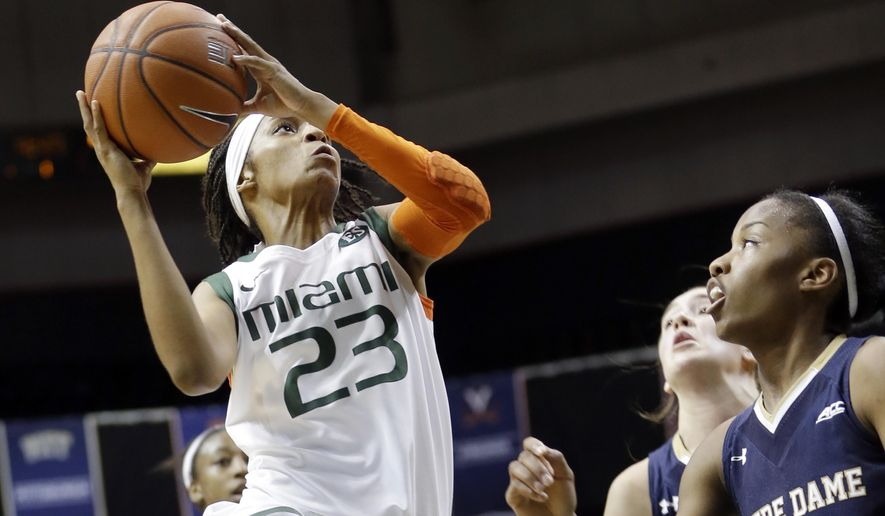Miami guard Adrienne Motley (23) goes to the basket against Notre Dame in the first half of an NCAA basketball game in Coral Gables, Fla., Thursday, Jan. 8, 2015. (AP Photo/Alan Diaz)