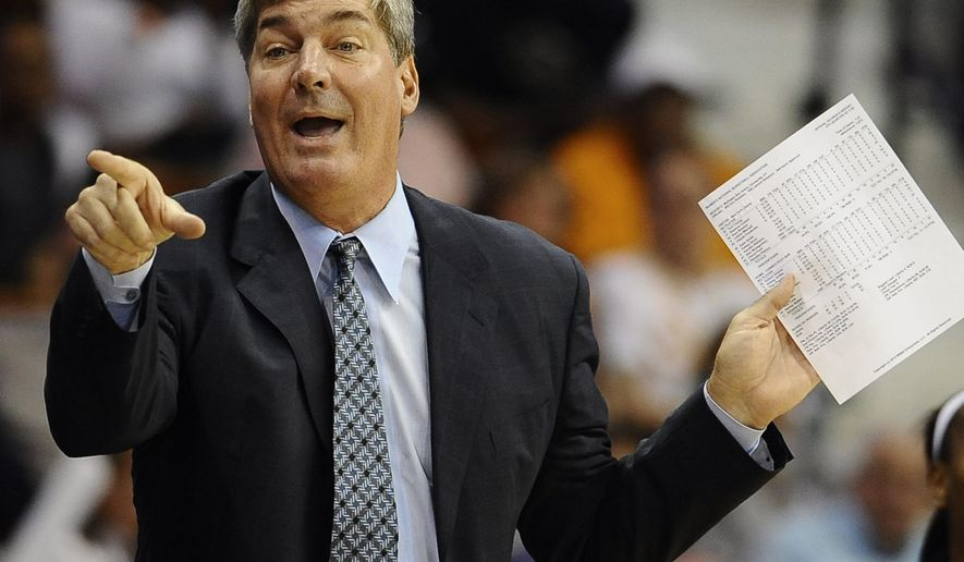 FILE - In this May 25, 2013, file photo, New York Liberty head coach Bill Laimbeer gestures during the second half of a WNBA basketball game against Connecticut in Uncasville, Conn. The New York Liberty rehired Bill Laimbeer as their head coach Thursday, Jan. 8, 2015,  the team announced.  (AP Photo/Jessica Hill, File)
