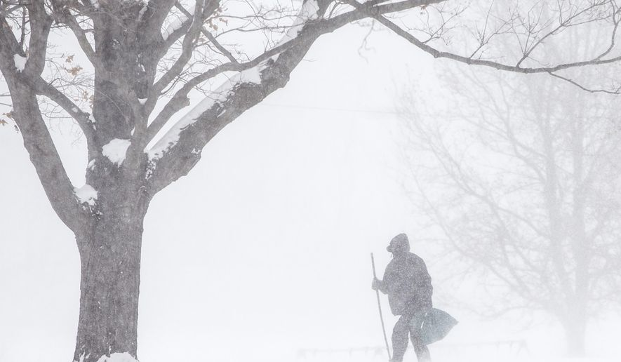 A man walks through snow on Wednesday, Jan. 7, 2015, at Pinhook Park in South Bend, Ind. In Indiana, Indianapolis Public Schools, one of the state's largest school districts, canceled Wednesday's classes, as did many others across the state's northern half, where a daylong wind chill warning was in effect. (AP Photo/South Bend Tribune, Robert Franklin)