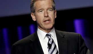 """In this Oct. 26, 2010 file photo, Brian Williams, anchor and managing editor of """"NBC Nightly News,"""" speaks at  the Women's Conference in Long Beach, Calif. (AP Photo/Matt Sayles, File)"""