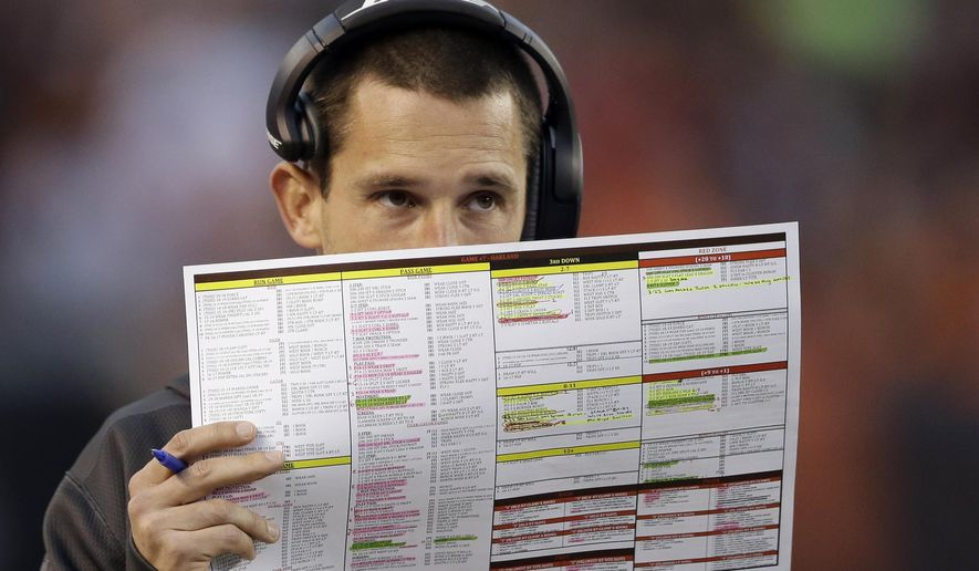 FILE - In this Oct. 26, 2014 file photo, Cleveland Browns offensive coordinator Kyle Shanahan looks over his play sheet during an NFL football game against the Oakland Raiders in Cleveland. A person familiar with the decisions says Shanahan and quarterbacks coach Dowell Loggains will not be returning to the team. (AP Photo/Tony Dejak, File)