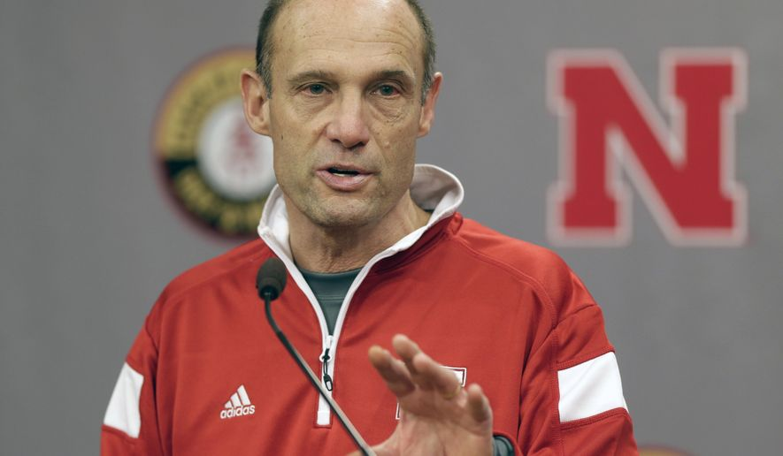 Nebraska head coach Mike Riley speaks at a news conference in Lincoln, Neb., Thursday, Jan. 8, 2015. Riley said he has one more position to fill on his coaching staff and that he will spend the next month putting the finishing touches on his recruiting class. (AP Photo/Nati Harnik)