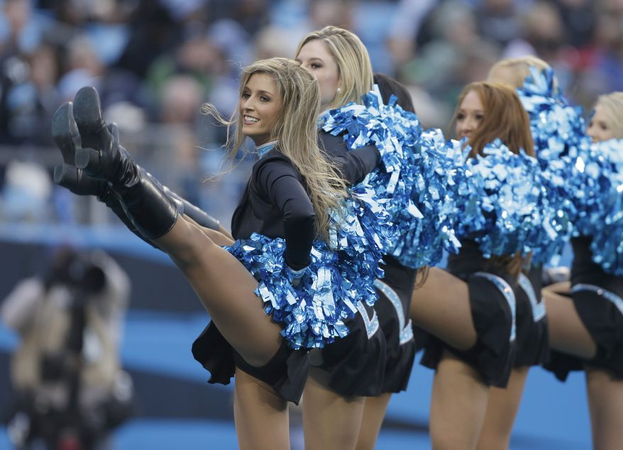 f2f55c28e95 Carolina Panthers cheerleaders perform in the second half of an NFL  football game against the Atlanta