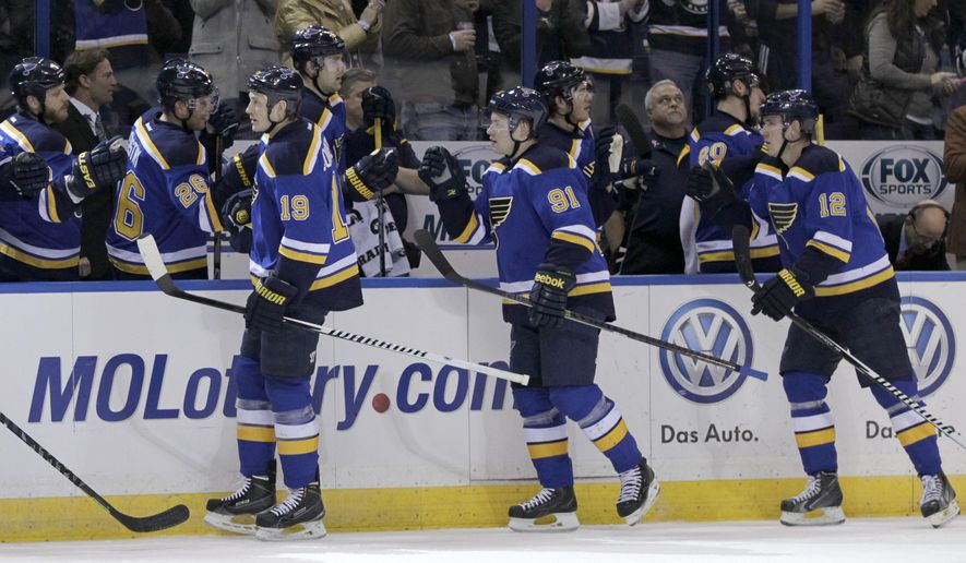 St. Louis Blues' Jay Bouwmeester (19) celebrates with teammates after scoring a goal in the first period of an NHL hockey game against the San Jose Sharks, Thursday, Jan. 8, 2015 in St. Louis.  (AP Photo/Tom Gannam)