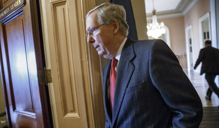 Senate Majority Leader Mitch McConnell of Kentucky walks to his office from the Senate chamber on Capitol Hill in Washington, Thursday, Jan. 8, 2015, after making plans to begin debate on the Keystone XL pipeline bill which cleared the Senate Energy and Natural Resources Committee earlier. (AP Photo/J. Scott Applewhite)