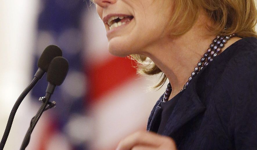 New Hampshire Gov. Maggie Hassan delivers her inaugural address after she was sworn in for her second two-year term, Thursday, Jan. 8, 2015, in Concord, N.H. (AP Photo/Jim Cole)