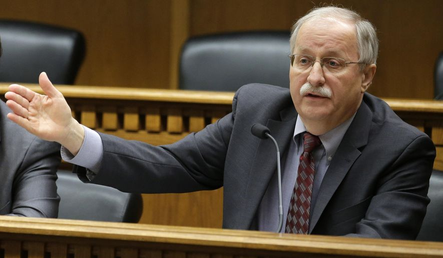 House Speaker Frank Chopp, D- Seattle, speaks during the leadership panel of the annual Associated Press Legislative Preview, Thursday, Jan. 8, 2015  in Olympia, Wash. (AP Photo/Ted S. Warren)