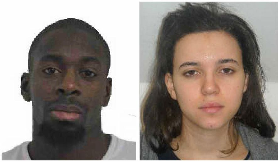 In this combination photo provided by the Paris Police Prefecture, Amedy Coulibaly, left, and Hayet Boumddiene, two suspects named by police as accomplices in a kosher market attack on the eastern edges of Paris on Friday, Jan. 9, 2015. (AP Photo/Prefecture de Police de Paris) ** FILE **