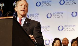 John Fish, Boston's bid chairman, speaks during a news conference in Boston Friday, Jan. 9, 2015 after Boston was picked by the USOC as its bid city for the 2024 Olympic Summer Games. (AP Photo/Winslow Townson)
