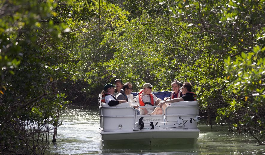 U.S. Secretary of the Interior Sally Jewell, second from right, tours a mangrove island in Everglades National Park with with scientists and federal and park service officials, Friday, Jan. 9, 2015 in Everglades National Park, Fla. Jewell said Friday that the bipartisan unity and state and federal cooperation behind Everglades restoration is a model for similar projects nationwide. (AP Photo/Wilfredo Lee)