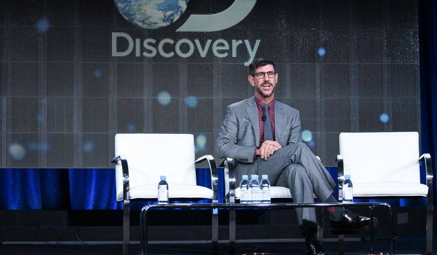 President of Discovery Channel, Rich Ross, speaks on stage at Discovery Communications 2015 Winter TCA on Thursday, Jan. 8, 2015, in Pasadena, Calif. (Photo by Richard Shotwell/Invision/AP)