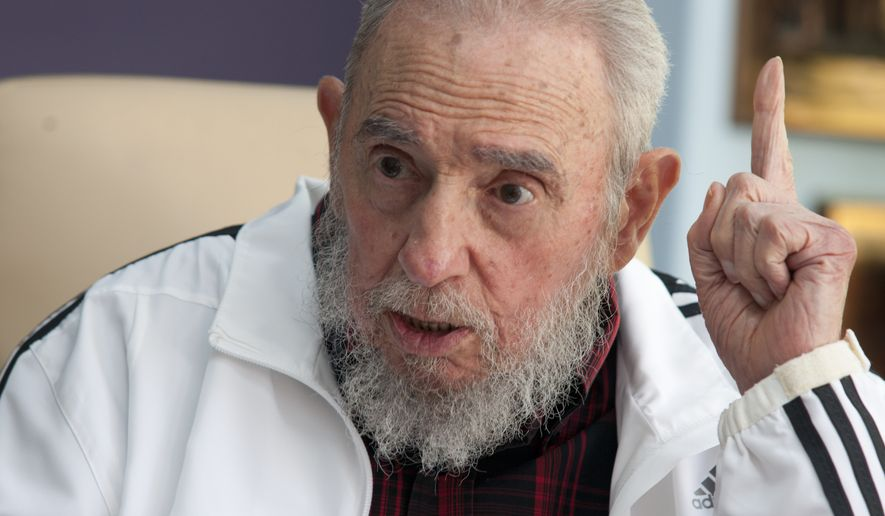 In this July 11, 2014, file photo, Cuba's Fidel Castro speaks during a meeting with Russia's President Vladimir Putin, in Havana, Cuba. (AP Photo/Alex Castro, File)