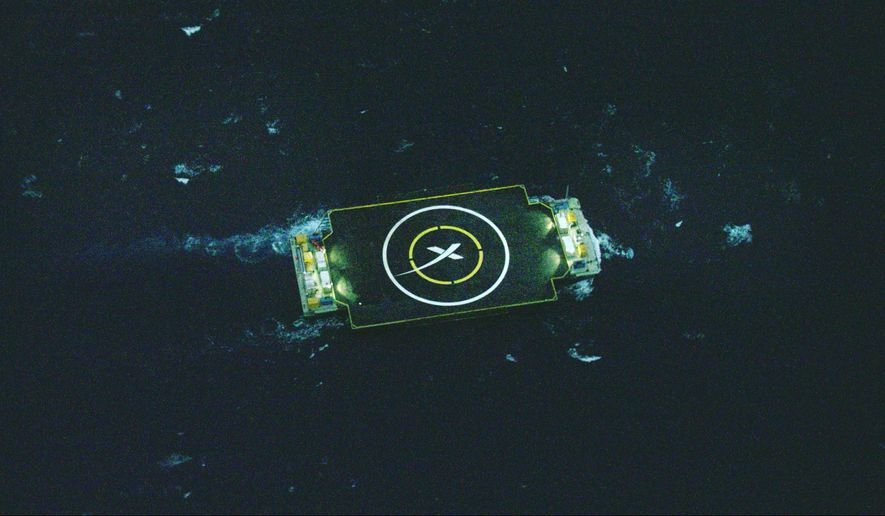 This undated image provided by SpaceX shows an ocean barge which SpaceX is planning to use during an attempt to deliver supplies to the International Space Station. The company's unmanned Falcon rocket is set to blast off before dawn Saturday, Jan. 10, 2015, from Cape Canaveral, Fla., and they hope to land the first-stage booster on the platform after launch. (AP Photo/SpaceX)