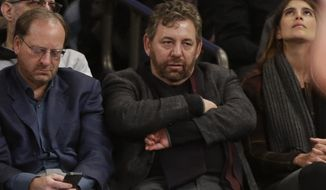 Madison Square Garden Chairman James Dolan, center, reacts during the first half of an NBA basketball game between the New York Knicks and the Charlotte Hornets, Saturday, Jan. 10, 2015, in New York. (AP Photo/Frank Franklin II)