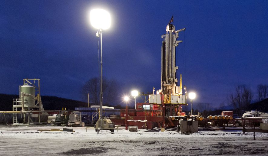 This Jan. 17, 2013 file photo shows a fracking site in New Milford, Pa.  New York's recent decision to ban fracking is hardly seen as a big loss for the nation's production of natural gas. That's because scientists say New York's available reserves of natural gas in the sprawling Marcellus Shale are minuscule compared to what can be extracted in other states such as Pennsylvania and West Virginia. (AP Photo/Richard Drew, File)