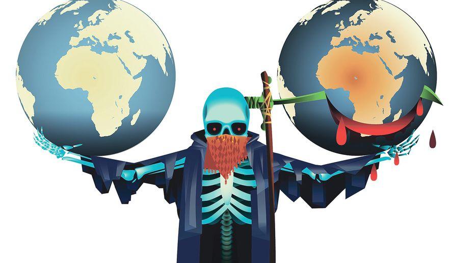 illustration on the international Islamo-terroist threat by Linas Garsys/The Washington Times