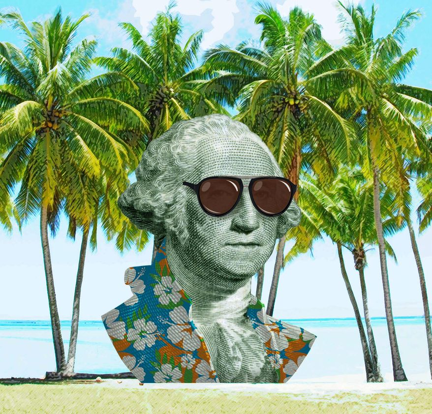 George Washington in the Cayman Islands Illustration by Greg Groesch/The Washington Times