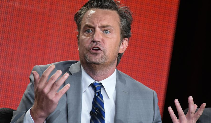 """Matthew Perry speaks during """"The Odd Couple"""" panel at the CBS/Showtime 2015 Winter TCA on Monday, Jan. 12, 2015, in Pasadena, Calif. (Photo by Richard Shotwell/Invision/AP)"""