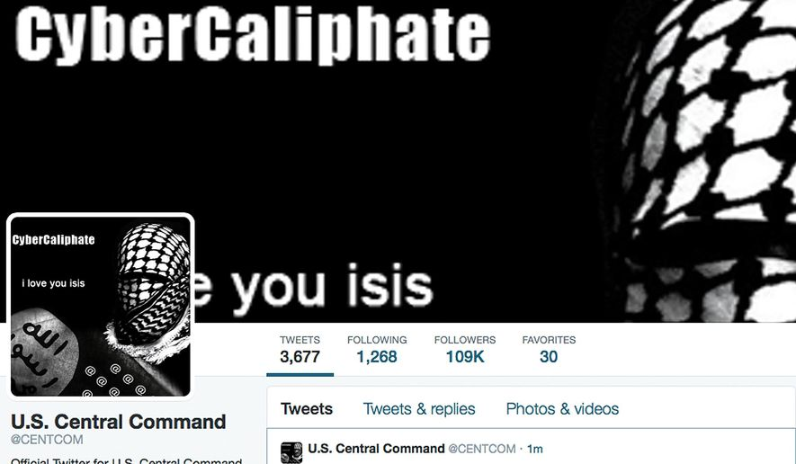 This screen grab made Monday, Jan. 12, 2015, show the front page of the U.S. Central Command Twitter account after is was hacked. (AP Photo) ** FILE **