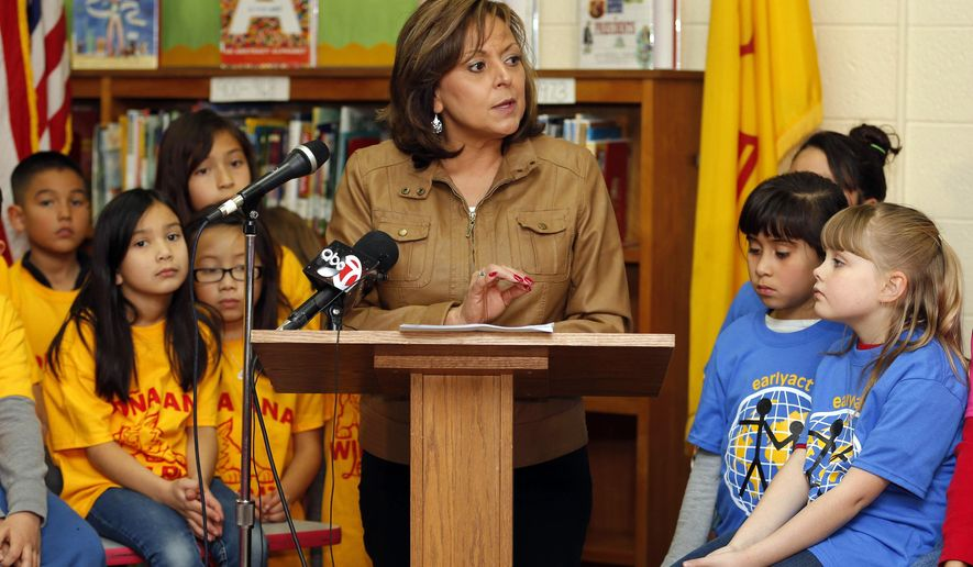 New Mexico Gov. Susana Martinez speaks while presenting her 2016 budget proposal at Dona Ana Elementary School in Las Cruces, N.M., Monday Jan. 12, 2015. Martinez unveiled a nearly $6.3 billion spending plan for growing New Mexico's economy and bolstering a slew of education initiatives. (AP Photo/Andres Leighton)