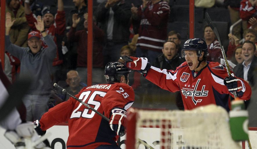 Washington Capitals center Jay Beagle, right, celebrates his goal with Jason Chimera (25) during the first period of an NHL hockey game against the Colorado Avalanche, Monday, Jan. 12, 2015, in Washington. (AP Photo/Nick Wass)