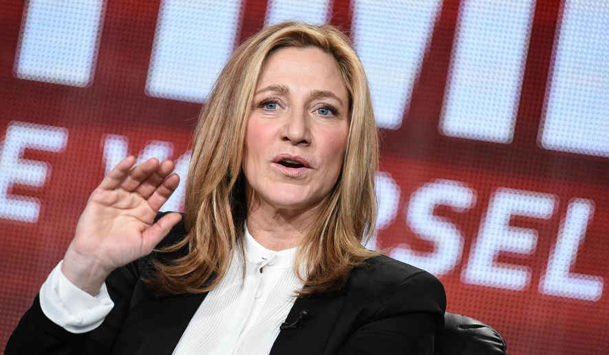 "Edie Falco speaks on stage during the ""Nurse Jackie"" Final Season panel at the CBS/Showtime 2015 Winter TCA on Monday, Jan. 12, 2015, in Pasadena, Calif. (Photo by Richard Shotwell/Invision/AP)"