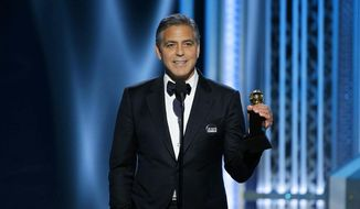 In this image released by NBC, George Clooney accepts the Cecil B. DeMille Award at the 72nd Annual Golden Globe Awards on Sunday, Jan. 11, 2015, at the Beverly Hilton Hotel in Beverly Hills, Calif. (AP Photo/NBC, Paul Drinkwater) ** FILE **